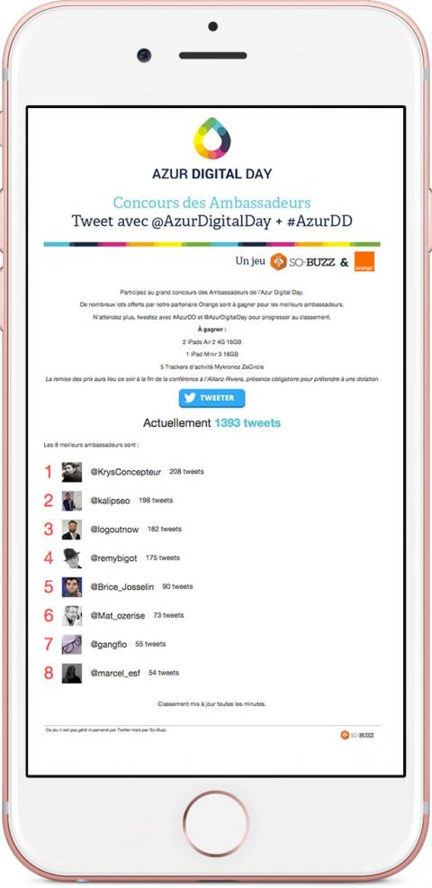 Application Twitter Azur Digital Day par So-Buzz