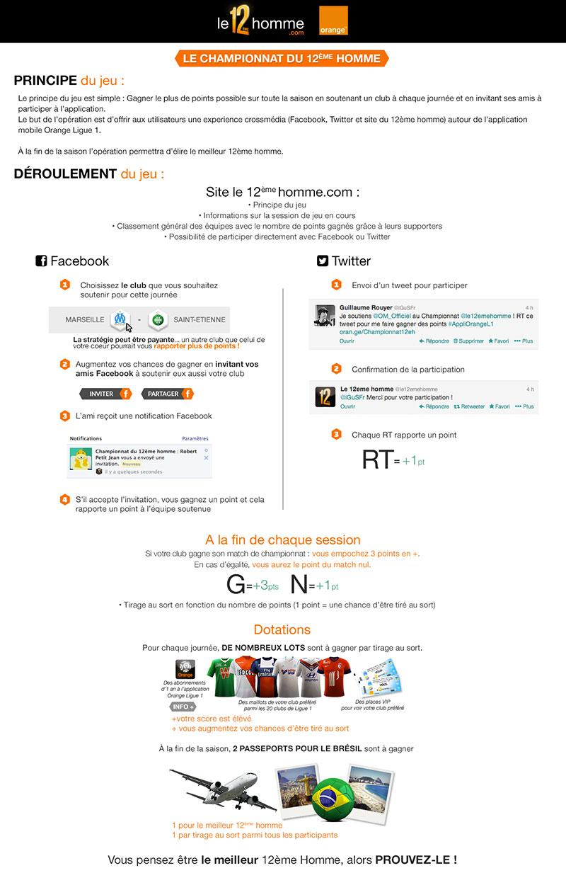 Mécanique du jeu Orange 12ème Homme sur les réseaux sociaux