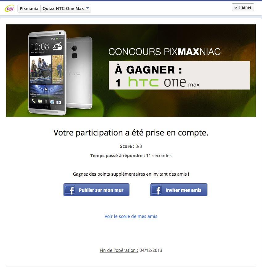 Concours Facebook Pixmania HTC