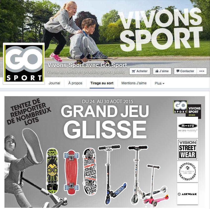 Jeu promotionel facebook Go Sport