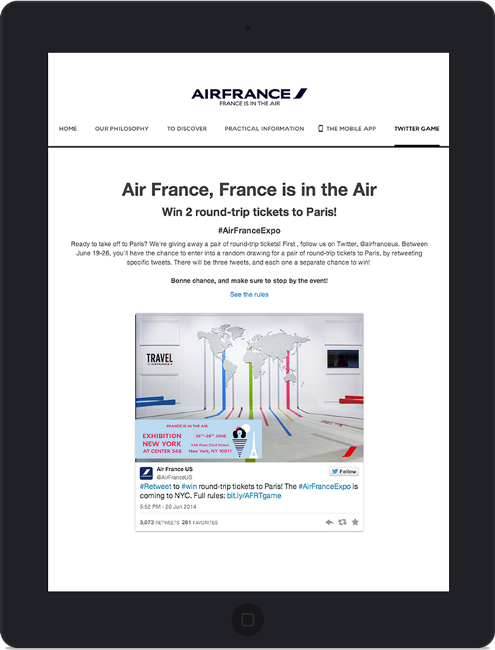 Application twitter pour Air France