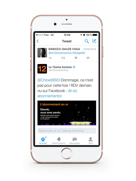 Application Twitter pour Orange le 12eme homme