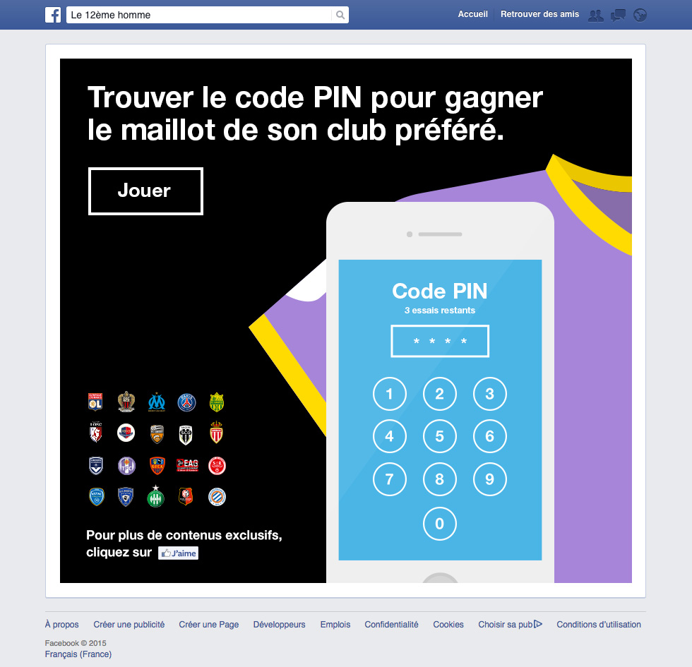 Application Facebook pour Orange