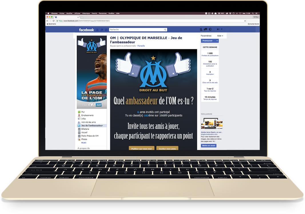 Application Facebook pour l'OM