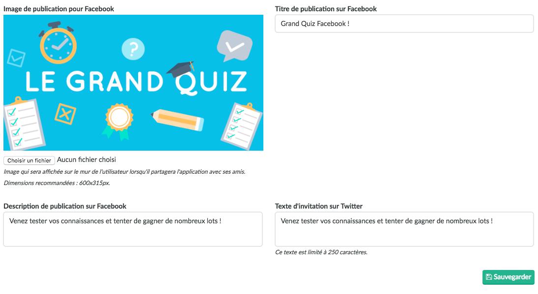 Préparation de la publication Facebook pour un jeu concours
