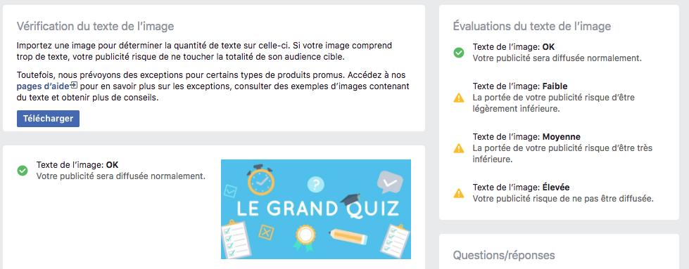 Outil Facebook pour vérifier la proportion de texte sur une image de partage